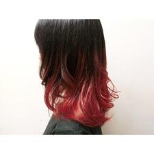 黒髪×レッド グラデーションカラー